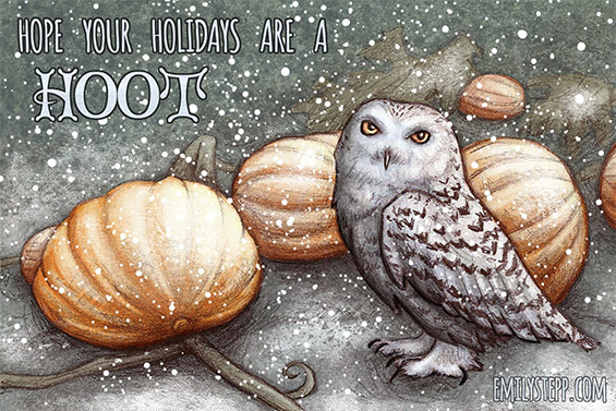 Holiday Card Owl Yule Emily Stepp