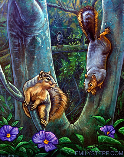 Emily Stepp squirrels forest painting illustration